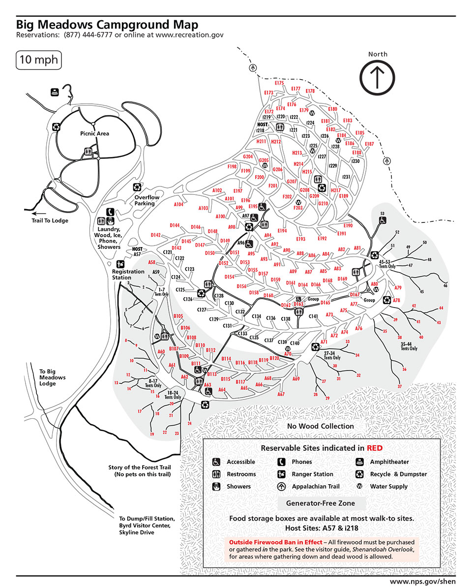 Big Meadows Campground Map Skyline Drive Overlooks Shenandoah